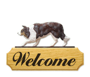 Border Collie Dog in Gait Yard Welcome Sign Red Merle