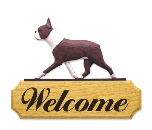 Boston Terrier Dog in Gait Yard Welcome Sign Black