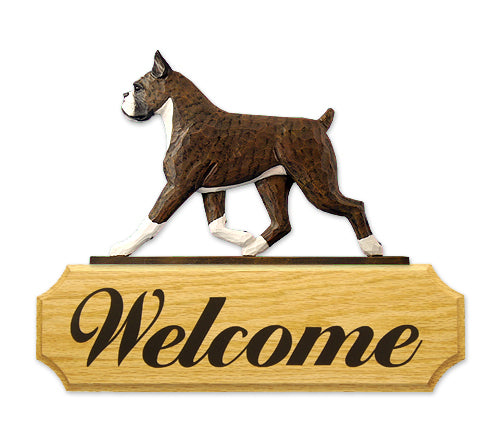 Boxer Dog in Gait Yard Welcome Sign Brindle