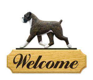 Boxer Natural Dog in Gait Yard Welcome Sign Brindle