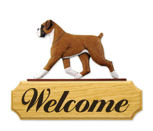 Boxer Natural Dog in Gait Yard Welcome Sign Fawn