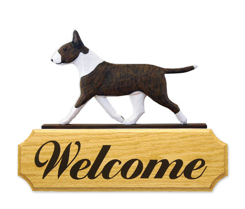 Bull Terrier Dog in Gait Yard Welcome Sign Brindle and White