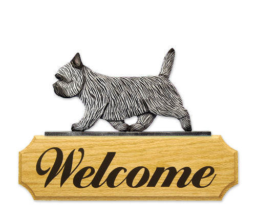 Cairn Terrier Dog in Gait Yard Welcome Sign Black Brindle