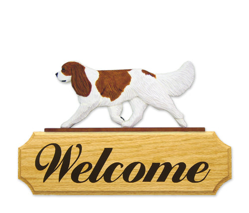 Cavalier King Charles Spaniel Dog in Gait Yard Welcome Sign Black and Tan