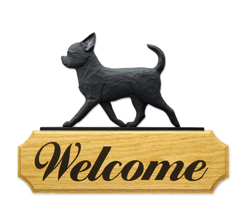 Chihuahua Dog in Gait Yard Welcome Sign Black