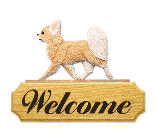 Chihuahua Long Hair Dog in Gait Yard Welcome Sign Black