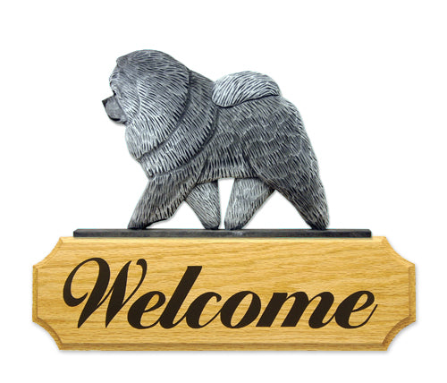 Chow Chow Dog in Gait Yard Welcome Sign Black