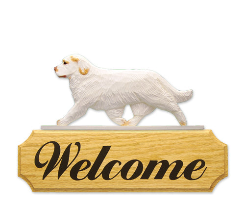 Clumber Spaniel Dog in Gait Yard Welcome Sign Lemon