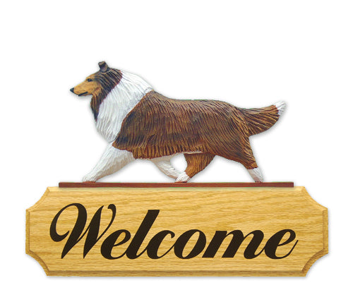 Collie Dog in Gait Yard Welcome Sign Sable