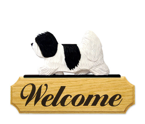 Coton de Tulear Dog in Gait Yard Welcome Sign Black and White