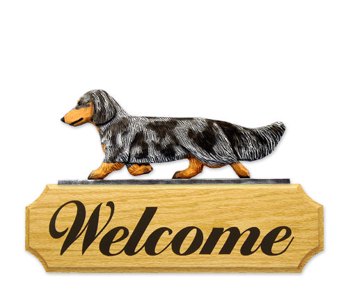 Dachshund Long Hair Dog in Gait Yard Welcome Sign Black and Tan