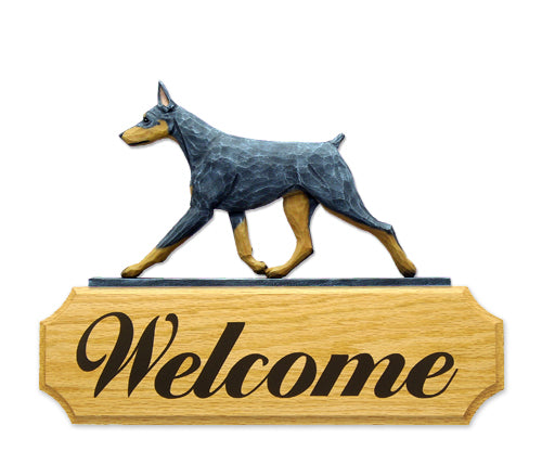 Doberman Dog in Gait Yard Welcome Sign Black and Tan