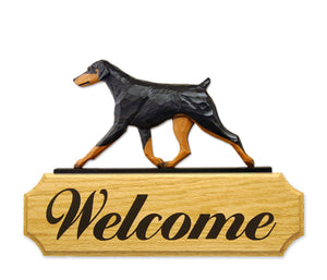 Doberman Natural Dog in Gait Yard Welcome Sign Black and Tan