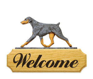 Doberman Natural Dog in Gait Yard Welcome Sign Blue and Tan
