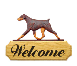 Doberman Natural Dog in Gait Yard Welcome Sign Red and Tan
