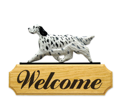 English Setter Dog in Gait Yard Welcome Sign Blue