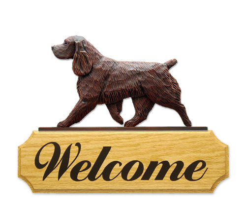 Field Spaniel Dog in Gait Yard Welcome Sign Black