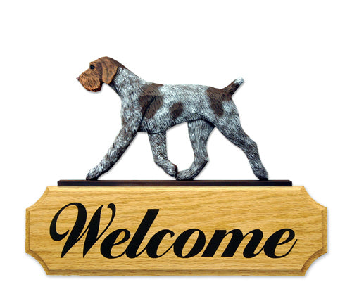 German Wire haired Pointer Dog in Gait Yard Welcome Sign