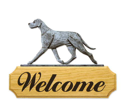 Great Dane Natural Dog in Gait Yard Welcome Sign Black