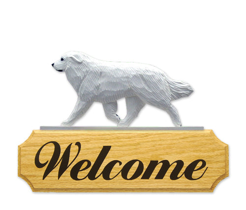 Great Pyrenees Dog in Gait Yard Welcome Sign