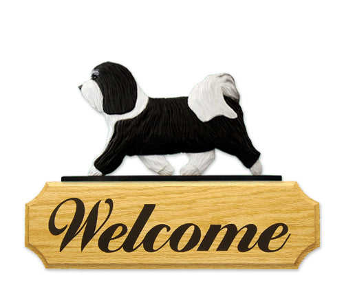 Havanese Dog in Gait Yard Welcome Sign Black and White
