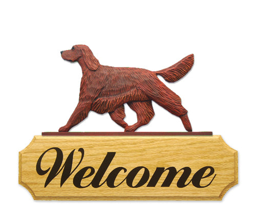 Irish Setter Dog in Gait Yard Welcome Sign