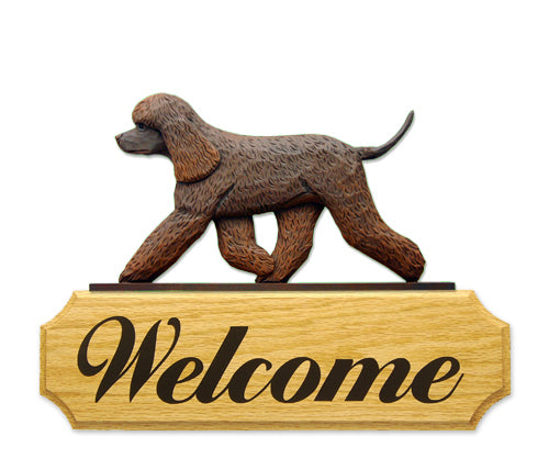 Irish Water Spaniel Dog in Gait Yard Welcome Sign