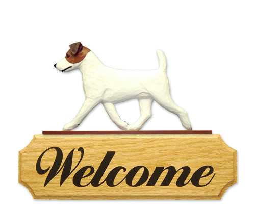 Jack Russell Terrier Dog in Gait Yard Welcome Sign Black and White