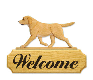 Labrador Retriever Dog in Gait Yard Welcome Sign Yellow