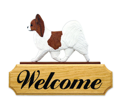 Papillon Dog in Gait Yard Welcome Sign Black and White