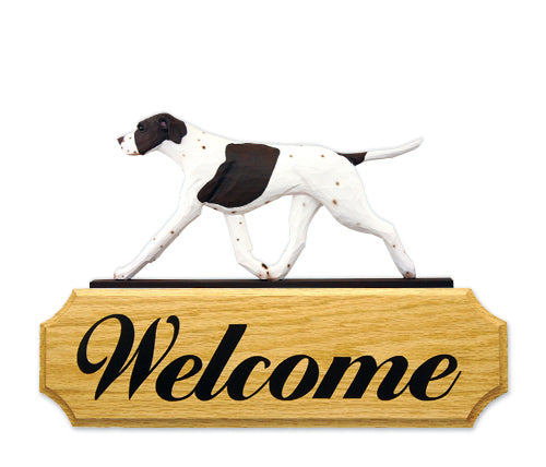 English Pointer Dog in Gait Yard Welcome Sign Black and White