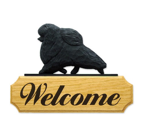 Pomeranian Dog in Gait Yard Welcome Sign Black