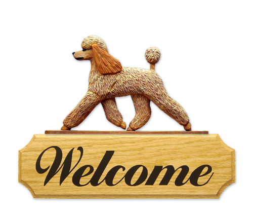 Poodle Dog in Gait Yard Welcome Sign Apricot