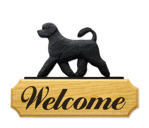 Portuguese Water Dog in Gait Yard Welcome Sign Black