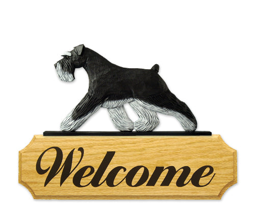 Schnauzer Natural Dog in Gait Yard Welcome Sign Black