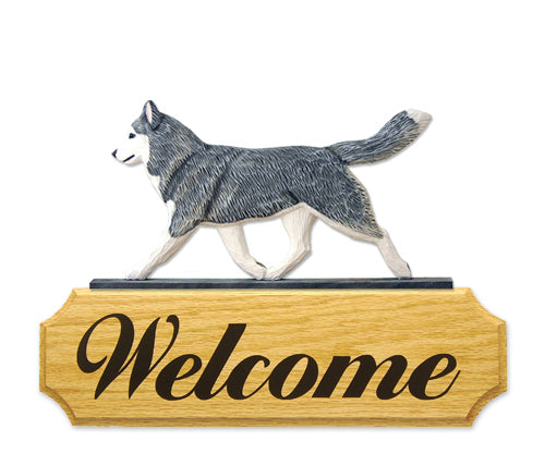 Siberian Husky Dog in Gait Yard Welcome Sign Black and White