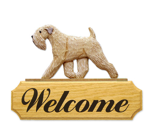 Soft Coated Wheaten Terrier Dog in Gait Yard Welcome Sign
