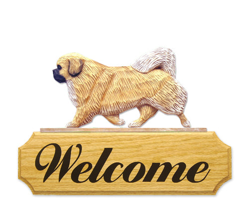 Tibetan Spaniel Dog in Gait Yard Welcome Sign Black