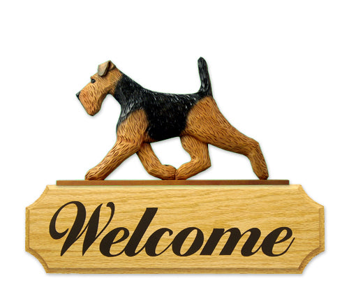 Welsh Terrier Dog in Gait Yard Welcome Sign