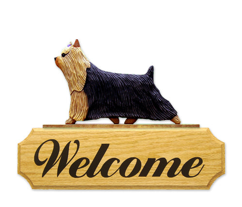 Yorkshire Terrier Dog in Gait Yard Welcome Sign