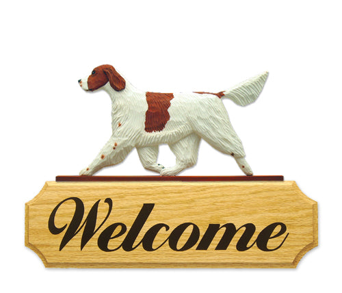 Irish Red and White Setter Dog in Gait Yard Welcome Sign