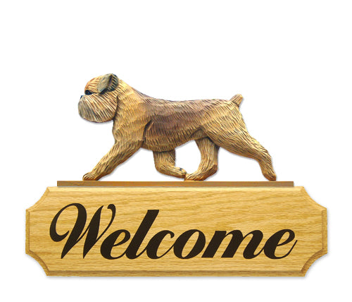 Brussels Griffon Natural Dog in Gait Yard Welcome Sign Beige