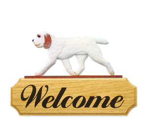 Spinone Italiano Dog in Gait Yard Welcome Sign Orange and White