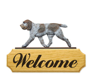 Spinone Italiano Dog in Gait Yard Welcome Sign Brown Roan