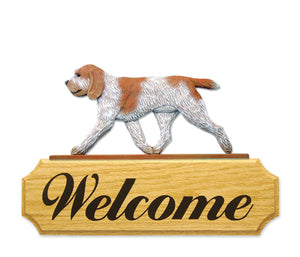 Spinone Italiano Dog in Gait Yard Welcome Sign Orange Roan