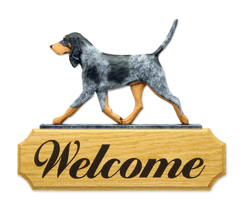 Bluetick Coonhound Dog in Gait Yard Welcome Sign