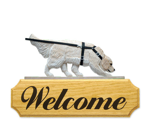 Golden Retriever Tracking Dog in Gait Yard Welcome Sign Cream