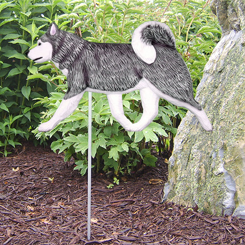 Alaskan Malamute Garden Landscaping Stake Black and White