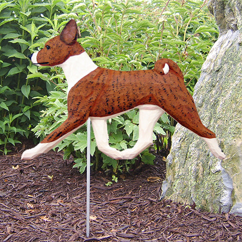 Basenji Garden Landscaping Stake Black and White