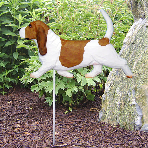 Basset Hound Garden Landscaping Stake Black and White